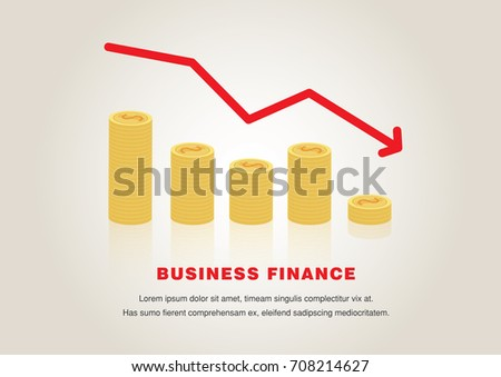 Business down chart with negative arrow and coin,Vector,illustration.