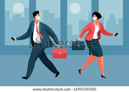 Business during the coronavirus epidemic. Businessman and businesswoman wearing medical face masks, with briefcases and smartphones, meeting in the office. Vector illustration