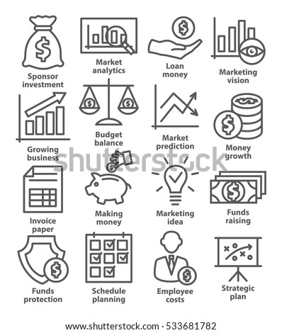 Business economic icons in line style