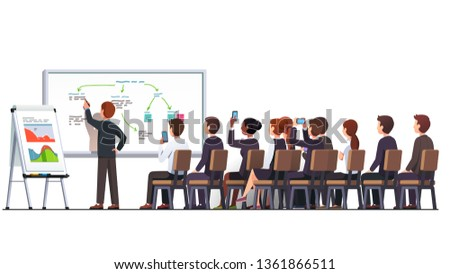 Business education class teacher & trainer man workshop teaching strategy business students audience group using white blackboard & flip-chart diagrams, charts in classroom. Flat vector illustration