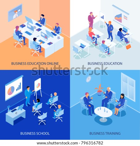 Business education isometric design concept with online school, discussions during training, lecturer and listeners isolated vector illustration