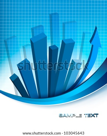 Business elegant abstract background with financial graph. Vector illustration