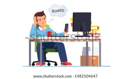 Business employee bored at work, snuffling through phone sitting at office desk. Lazy unmotivated unproductive manager clerk pass time with smartphone not doing job. Flat vector character illustration