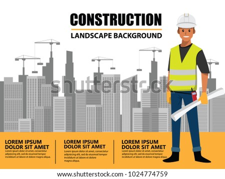 Business Engineer and worker  teamwork ,Building under Construction site background ,infographics Construction , Vector illustration cartoon character design.