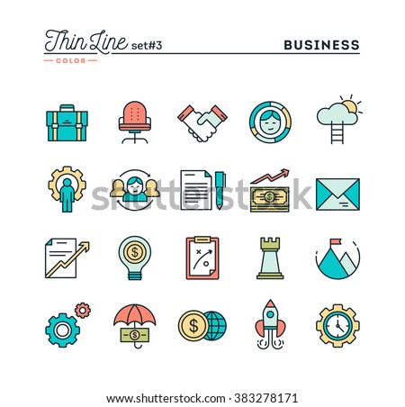 Business, entrepreneurship, teamwork, goals and more, thin line color icons set, vector illustration
