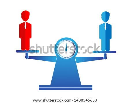 Business equality vector concept with red businessman and blue businessman standing on weigh or scales on the same height. Symbol of equal pay, salary, fairness and justice and emancipation.