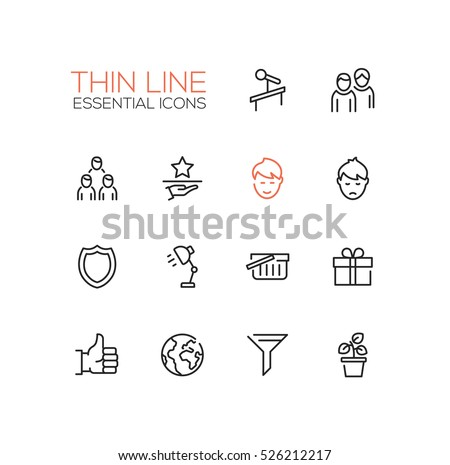 Business Essential - modern vector simple thin line design icons set.