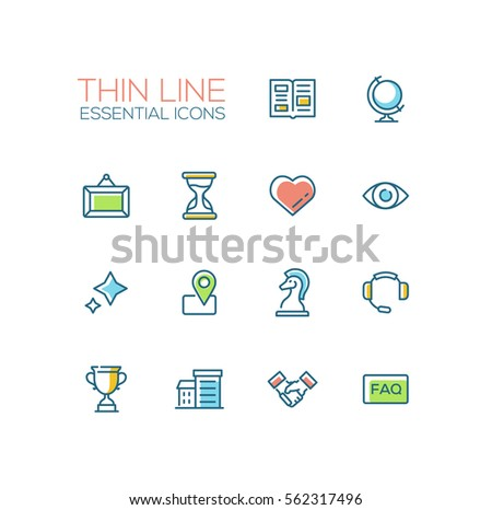 Business Essential - modern vector simple thin line design icons set with accent color. Newspaper, globe, picture, hourglass, heart, stars, location. Material design concept symbols