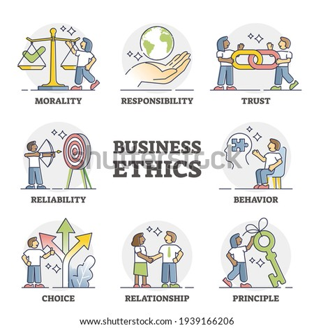 Business ethics as company principles and moral honesty diagram outline set. Educational labeled scheme with morality, responsibility, trust, reliability, choice and reliability vector illustration.