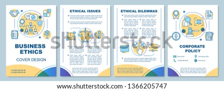 Business ethics brochure template layout. Corporate policy. Flyer, booklet, leaflet print design with linear illustrations. Vector page layouts for magazines, annual reports, advertising posters