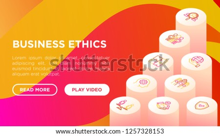 Business ethics concept with thin line isometric icons: union, trust, honesty, responsibility, justice, commitment, no to racism, gender employment, core values. Vector illustration, web page template
