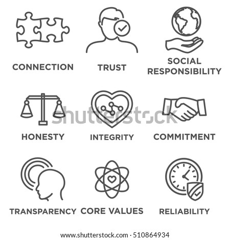 Business Ethics Icon Set with social responsibility, corporate core values, reliability, transparency, etc