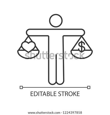 Business ethics linear icon. Dilemma. Love or money decision. Thin line illustration. Make choice. Honesty, morality. Scales of justice with dollar and heart. Vector isolated drawing. Editable stroke