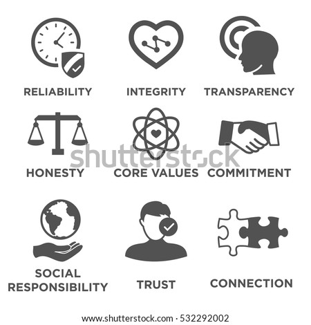 Shutterstock Business Ethics Solid Icon Set Isolated with Text