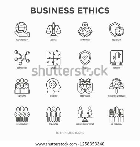 Business ethics thin line icons set: connection, union, trust, honesty, responsibility, justice, commitment, no to racism, recruitment service, teamwork, gender employment. Modern vector illustration.