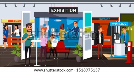 Business exhibition flat vector illustration. Corporate exposition visitors and exhibitors cartoon characters. Smiling men and women in expo center. Company product presentation, advertising
