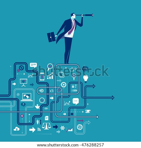 Business Expectations. Illustration of businessman standing on edge of the business structure looking through spy-glass. Business concept vector  illustration