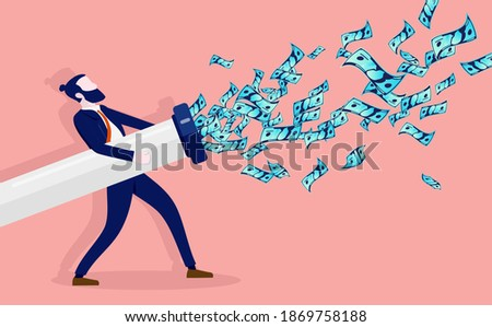 Business expenses - Man holding pipe spraying dollar bills in the air. Cash outflow, salaries and spending concept. Vector illustration.