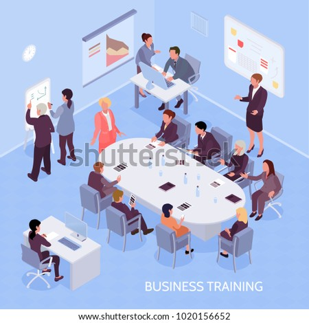 Business experts and employees during corporate training, office interior elements on blue background isometric vector illustration