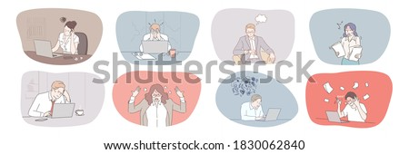 Business, face, expression, emotion, mental stress, frustration, depression, deadline, panic set. Collection of frustrated depressed businessmen women overworking in office having nervous breakdown.