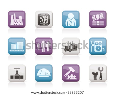 Business, factory and mill icons - vector icon set - stock vector