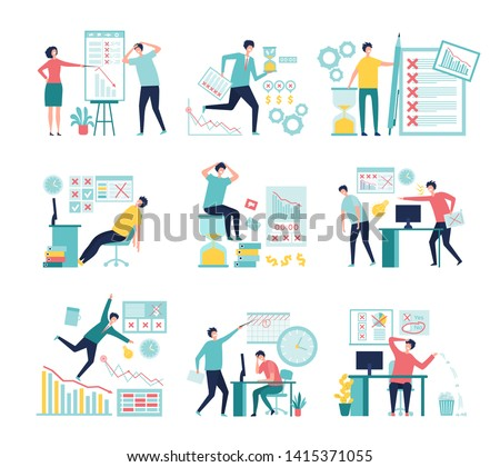 Business fail. Lossing managers bad management processes failed paperwork low graphs and indicators vector concept. Illustration of business fail and crisis, financial bankruptcy and depression
