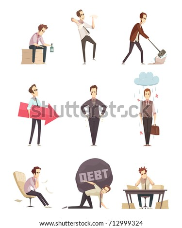 Business failure retro cartoon icons set with frustrated upset businessman with debt burden metaphor isolated vector illustration
