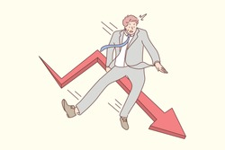 Business, fall, bankruptcy concept. Young scared businessman manager bankrupt cartoon character falling down from red arrow. Economic failure investment and financial stock market crash illustration.
