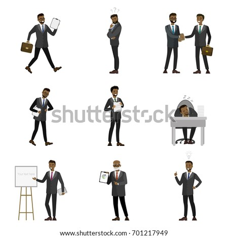 Business, Finance and Office Employees in Suits, Busy at Work Set of Cartoon African American Businessman Characters isolated on white background,Vector illustrations