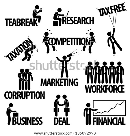 Business Finance Businessman Entrepreneur Employee Worker  Team Text Word Stick Figure Pictogram Icon