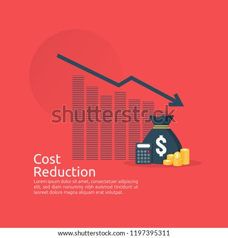 business finance crisis concept. stack pile coins and money bag icon. arrow decrease economy stretching rising drop. lost bankrupt declining. cost reduction. loss of income. vector illustration.