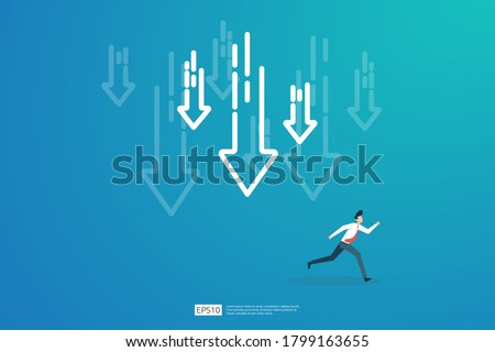 business finance crisis concept with business man character. money fall down with arrow decrease symbol. economy stretching global lost bankrupt. cost declining reduction or loss of income Сток-фото ©