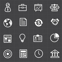 Business finance icons set and black background