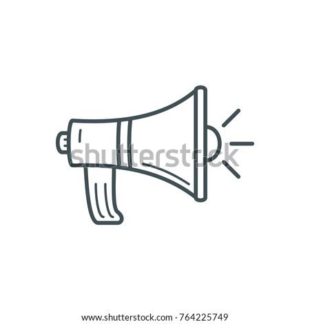 Business Finance Line Icon Megaphone speaker