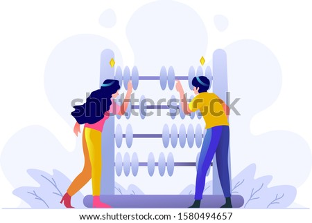 Business finance Man and woman Calculating count analysis money with abacus people character flat design style Vector Illustration