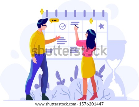 Business finance man and women managing schedule management work date calendar people character flat design style Vector Illustration
