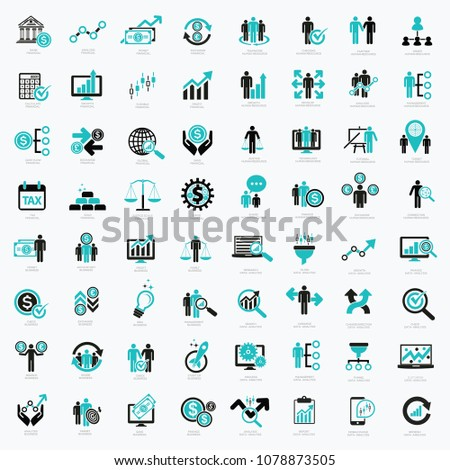 Business financial and data analysis icon set