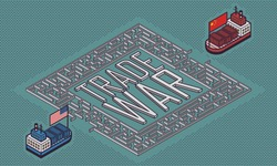 Business/Financial Concept - Container Ships with America and China Flag Entering the Maze with Trade War Text - Vector Illustration