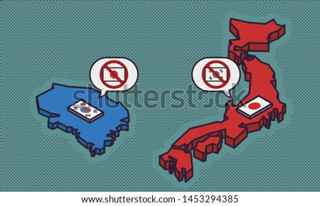Business/Financial Concept - Trade War / South Korea and Japan Saying Refuse to Import Product from Each Other - Vector Illustration
