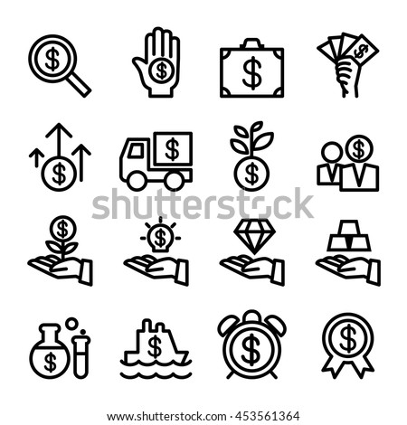Business Financial Investment icon set in thin line style