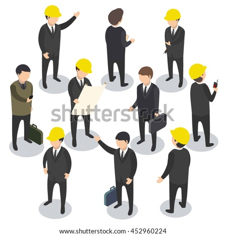 business flat 3d isometric man