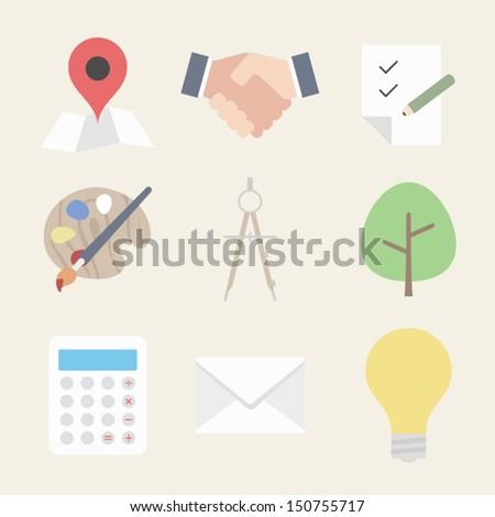 Business flat design icon set