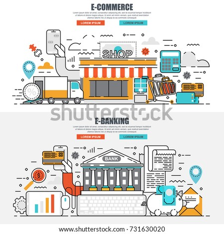 Business flat line concept web banner of e-commerce, online shopping and delivery, customer buying, online banking. Conceptual linear vector illustration for web design, marketing, graphic design.