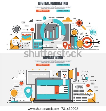 Business flat line concept web banner of social campaign, digital marketing, mobile marketing, advertising, promotion. Conceptual linear vector illustration for web design, marketing, graphic design.