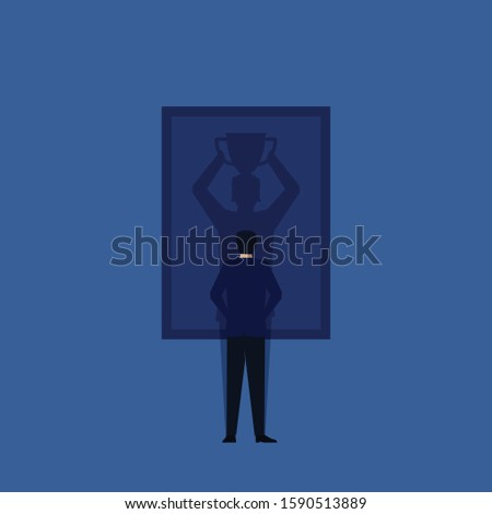 Business flat vector concept man stand and see winner shadow on frame metaphor of self taught and trust. Illustration For Wallpaper, Banner, Background, Infographic, Book, And Web Landing Page. 商業照片 ©