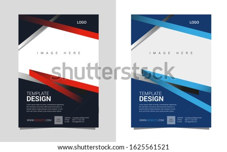 Business flyer gym flyer brochure blue and black cover annual report a4 template design
