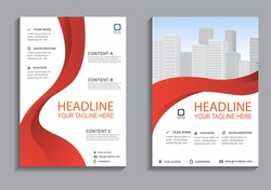 Business flyer layout template in A4  size. Modern Brochure template cover design, annual report with red geometric and wavy  lines for business promotion on white background, vector illustration