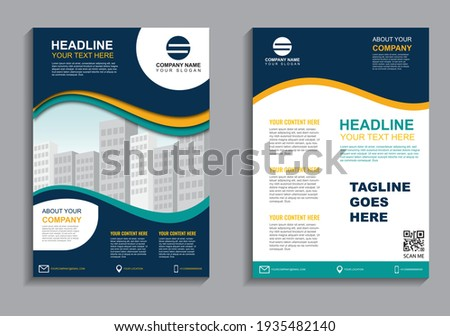 Business flyer layout template in A4  size. Modern Brochure template cover design, annual report, poster  with geometric and wavy  lines for business market on white background, vector illustration
