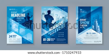 Business Flyer Poster Design Set. Layout Template, Abstract Blue Geometric Triangle Background, invitation Card, presentation, leaflet, Booklet, annual Report, cover brochure,exhibition display,banner