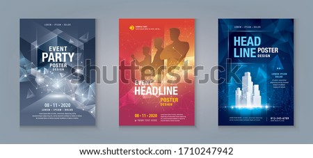 Business Flyer Poster Design Set. Layout Template, Abstract futuristic techno Geometric, invitation Card, leaflet, annual Report, Cover brochure set for sci-fi, Technology, digital, Music, Festival